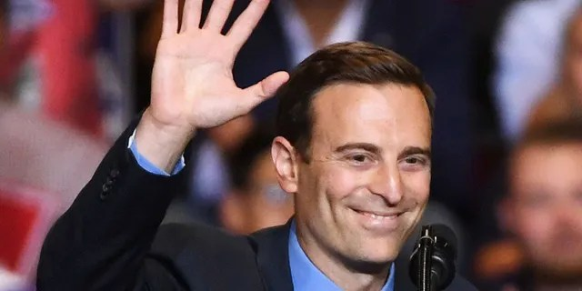 Former Nevada Attorney General and Republican U.S. Senate candidate Adam Laxalt waves after speaking during a Donald Trump campaign rally at the Las Vegas Convention Center on September 20, 2018 in Las Vegas, Nevada. Laxalt unsuccessfully ran for governor in 2018 and co-chaired Trump's campaign in Nevada in 2020.