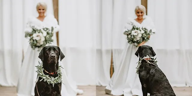 One beaming bride in Alabama knew her wedding day wouldn't be complete without a quiet moment alone with one of her dearest family members – her dog.