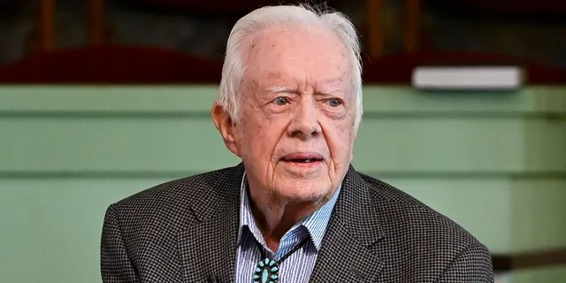 Former U.S. President Jimmy Carter teaches Sunday school at Maranatha Baptist Church, Sunday, Nov. 3, 2019, in Plains, Ga. (AP Photo/John Amis)
