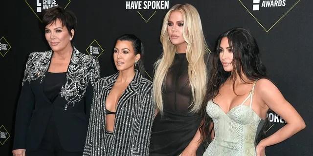 From left: Kris Jenner, Kourtney Kardashian, Khloe Kardashian, and Kim Kardashian West. (Photo by Frazer Harrison/Getty Images)