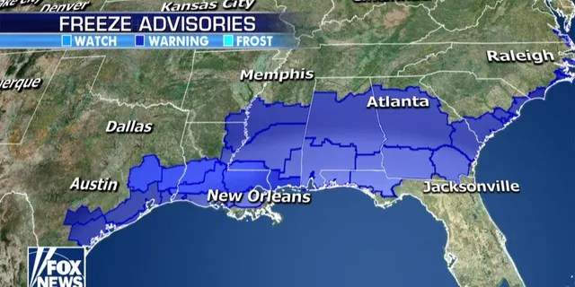 Freeze Advisories extend down to the Gulf Coast due to the Arctic air<br data-recalc-dims=