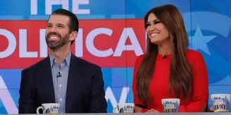 "<br> ​​​​​Donald Trump Jr. and Kimberly Guilfoyle are seen on ABC's ""The View,"" Nov. 7, 2019. (Getty Images)"