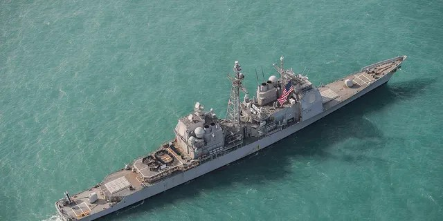 """The USS Chancellorsville, pictured here earlier this month, conducted the transit in a move likely to irk China.<br data-cke-eol=""""1"""">"""
