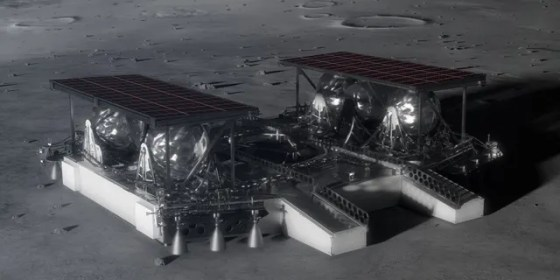 Illustration shows the mid-sized lander on the lunar surface. (Credit: NASA)