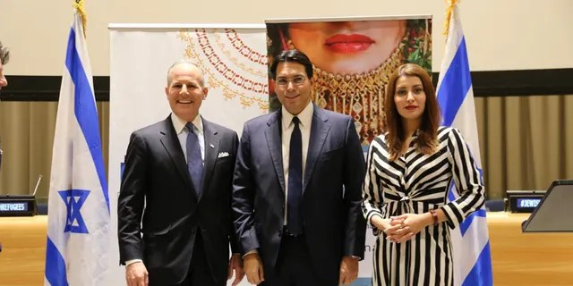 U.S. State Department's Special Envoy for Monitoring and Combating anti-Semitism Elan Carr (left), Israel's Ambassador to the United Nations Danny Danon and former Miss Iraq Sarah Idan.