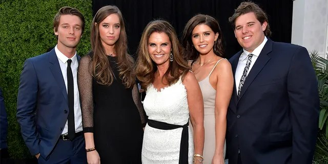 Left to right: Patrick Schwarzenegger, Christina Schwarzenegger, Maria Shriver, Katherine Schwarzenegger and Christopher Schwarzenegger attend The Comedy Central Roast of Rob Lowe at Sony Studios on August 27, 2016 in Los Angeles, California.