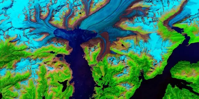 This false-color image of Alaska's Columbia glacier was taken in July 2014.