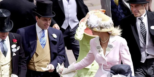 Royal Ascot Race Meeting Thursday - Ladies Day.  Prince Andrew, The Duke of York and Jeffrey Epstein (far right).