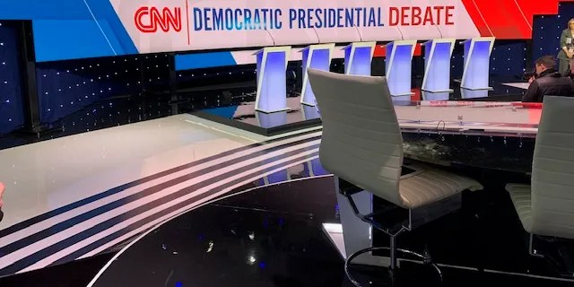 The debate stage at the CNN/Des Moines Register debate ahead of the showdown, on Tuesday, Jan. 14, 2019, in Des Moines, Iowa
