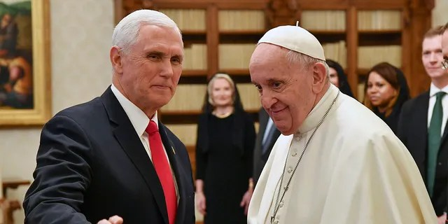 Pope Francis meets with U.S. Vice President Mike Pence, left, on the occasion of their private audience, at the Vatican, Friday, Jan. 24, 2020. (Associated Press)