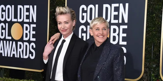 Portia de Rossi, left, and Ellen DeGeneres arrive at the 77th Annual Golden Globe Awards at the Beverly Hilton Hotel on Sunday January 5, 2020 in Beverly Hills, California.