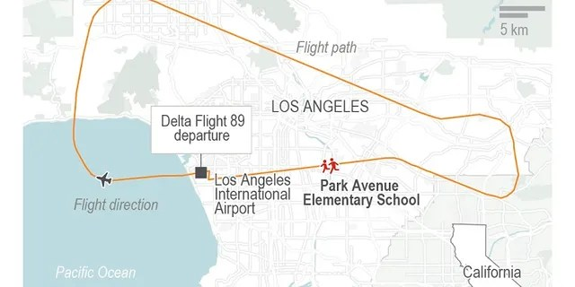 A map shows the route of Delta Flight 89 over Los Angeles.