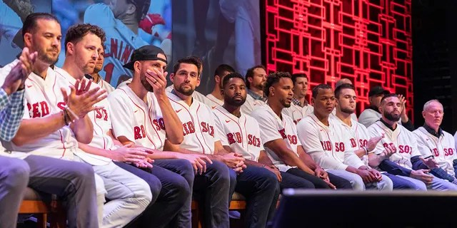 Boston Red Sox players gather during the baseball team's fan fest Friday, Jan. 17, 2020, in Springfield, Mass. (Associated Press)