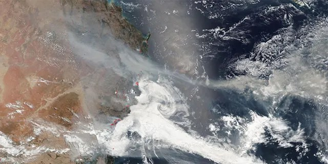 Australia's deadly wildfires can be seen in images taken from space.