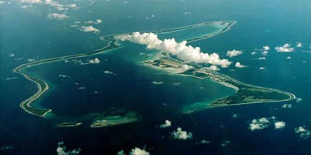 An undated file photo shows Diego Garcia, the largest island in the Chagos archipelago and site of a major United States military base in the middle of the Indian Ocean leased from Britain in 1966.