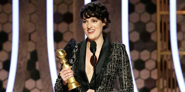 """This image released by NBC shows Phoebe Waller-Bridge accepting the award for best actress in a comedy series for """"Fleabag"""" at the 77th Annual Golden Globe Awards at the Beverly Hilton Hotel in Beverly Hills, Calif., on Sunday, Jan. 5, 2020."""