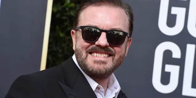 Ricky Gervais arrives at the 77th annual Golden Globe Awards at the Beverly Hilton Hotel on Sunday, Jan. 5, 2020, in Beverly Hills, Calif.