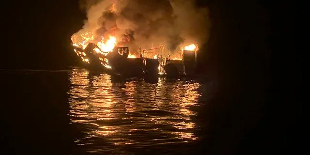 In this Sept. 2, 2019, file photo provided by the Santa Barbara County Fire Department, the dive boat Conception is engulfed in flames after a deadly fire broke out aboard the commercial scuba diving vessel off the Southern California Coast. (Santa Barbara County Fire Department via AP, File)