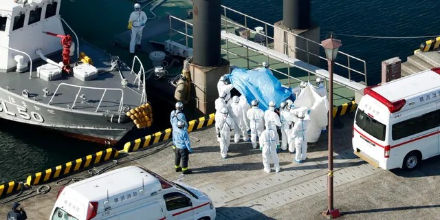 Medical workers in protective suits lead a passenger tested positive for a new coronavirus from the cruise ship Diamond Princess at Yokohama Port in Yokohama, south of Tokyo, Wednesday, Feb. 5, 2020. Japan said Wednesday 10 people on the cruise ship have tested positive for the new virus and were being taken to hospitals. (Hiroko Harima/Kyodo News via AP)