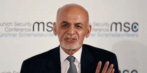 Afghan President Ashraf Ghani speaks on the second day of the Munich Security Conference in Munich, Germany, Saturday, February 15, 2020. (AP Photo / Jens Meyer)