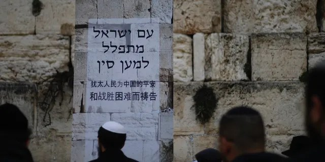 """Jews pray at the Western Wall, the holiest site where Jews can pray in Jerusalem's Old City, Sunday, Feb. 16, 2020. As concerns over the coronavirus's spread rise, Jewish faithful held a prayer session Sunday at the Western Wall in search of divine intervention to help stave off contagious disease. Poster in Hebrew and Chinese says, """"The People of Israel pray for China."""" (AP Photo/Ariel Schalit)"""