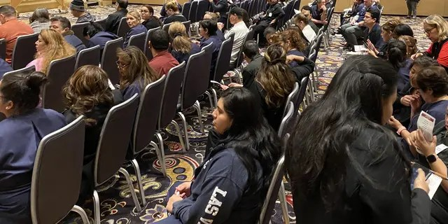 Caucusgoers at the Bellagio Hotel and Casino in Las Vegas on Saturday. (Paul Steinhauser/Fox News).