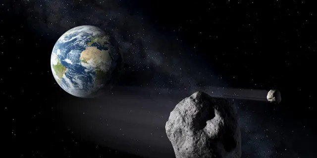 Artistic impression of two near earth objects. (Credit: ESA / P. Carril)