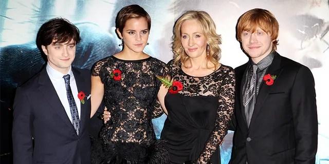 Daniel Radcliffe, Emma Watson, J.K. Rowling, and Rupert Grint in 2010