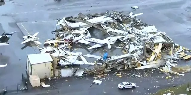 """John C. Tune Airport, Nashville International's sister airport in West Nashville, """"sustained significant damage due to severe weather."""
