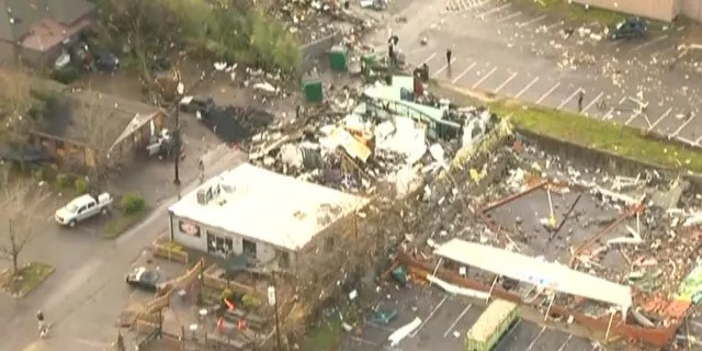 Collapsed buildings were reported around Nashville after the tornado.