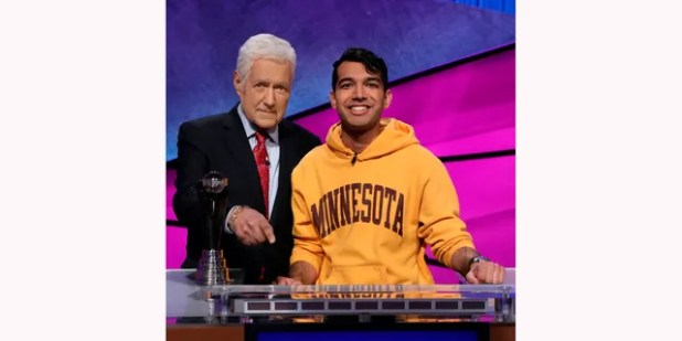 'Jeopardy!'  Host Alex Trebek (L) with a contestant