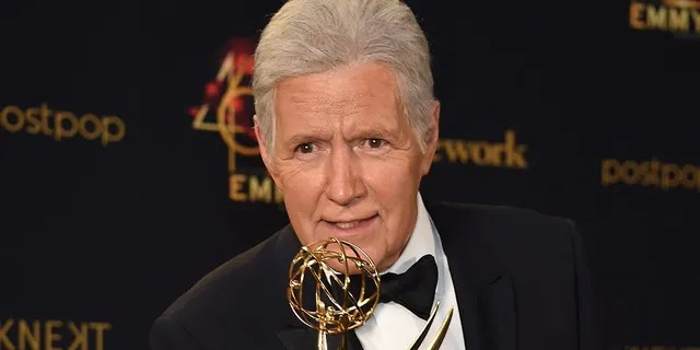 Alex Trebek poses with the Daytime Emmy Award for Outstanding Game Show Host in the press room during the 46th annual Daytime Emmy Awards at Pasadena Civic Center on May 5, 2019 in Pasadena, California.