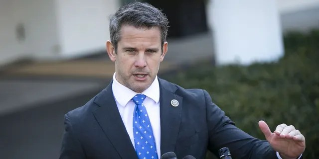 FILEE - Rep. Adam Kinzinger, a Republican from Illinois, speaks to members of the media following a meeting with President Donald Trump outside the White House in Washington, D.C., March 6, 2019. Photographer: Al Drago/Bloomberg via Getty Images