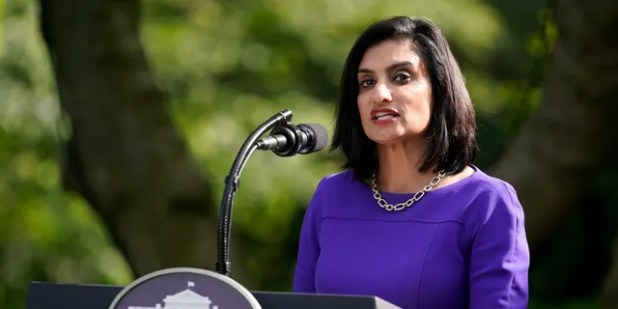 In this May 26, 2020 photo, Seema Verma, administrator of the Centers for Medicare and Medicaid Services, speaks at an event about protecting older people with diabetes at the Rose Garden White House in Washington.  (AP Photo / Evan Vucci, File)