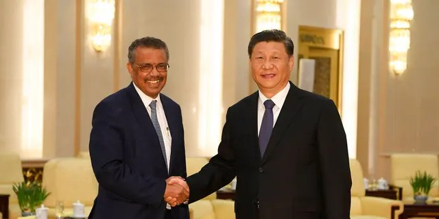 FILE - In this Jan. 28, 2020, file photo, Tedros Adhanom, director general of the World Health Organization, left, shakes hands with Chinese President Xi Jinping before a meeting at the Great Hall of the People in Beijing. (Naohiko Hatta/Pool Photo via AP, File)