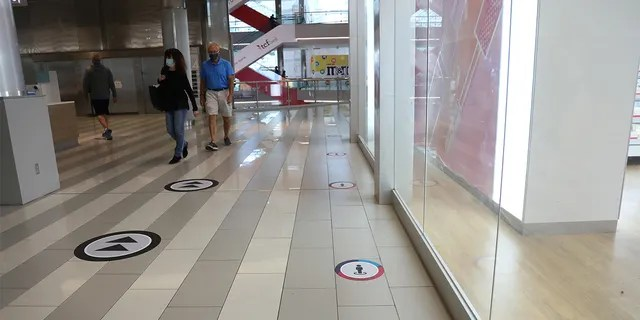 Social distancing markers seen on the ground at the Mall of America on Wednesday.