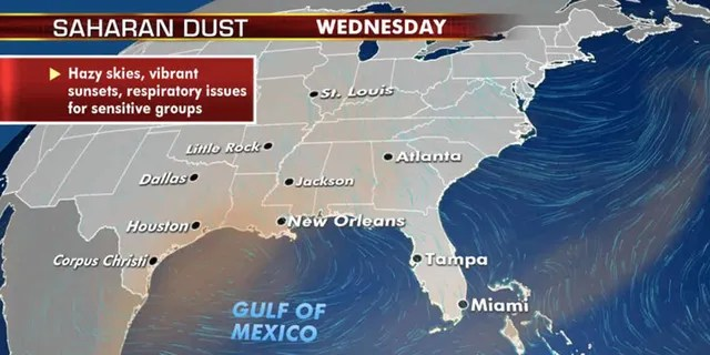 Sahara dust layer continues to linger over the Southeast this week.