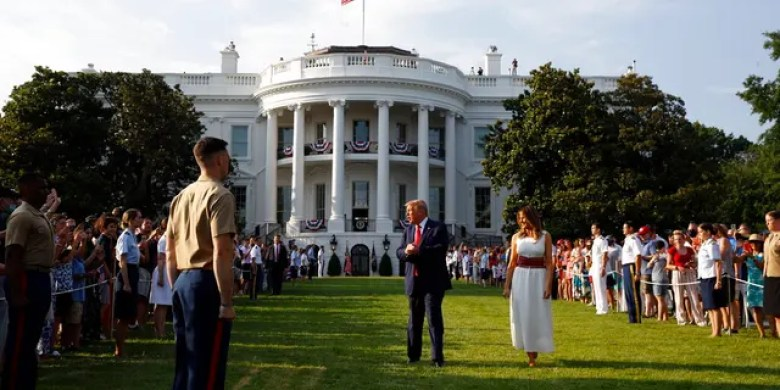 "President Donald Trump and first lady Melania Trump appear at a ""Salute to America"" event on the South Lawn of the White House, Saturday, July 4, 2020, in Washington. (AP Photo/Patrick Semansky)"