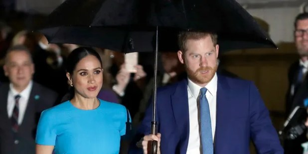 FILE - Prince Harry and Meghan, Duke and Duchess of Sussex arrive at the annual Endeavor Fund Awards in London on March 5, 2020.