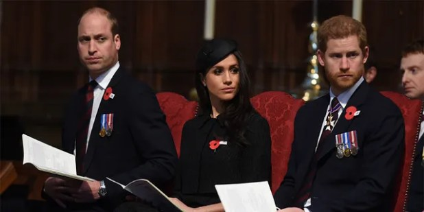 Prince William, Duke of Cambridge, Meghan Markle and Prince Harry attend an Anzek Day service on April 25, 2018 at Westminster Abbey in London, England.