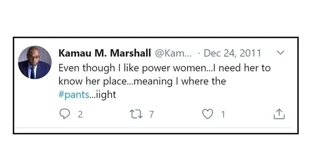 "bce2da90 Joe Biden's head of strategic communications, Kamau M. Marshall, has  posted several sexist messages on social media over the past decade, beginning with a Christmas Eve 2011 tweet in which he expressed his affection for ""power women"" – as long as she ""know her place"" and he can ""where  the pants."""
