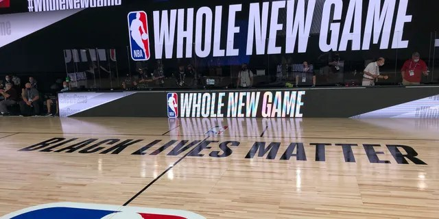 A basketball court is shown at the ESPN Wide World of Sports complex in Florida on Tuesday, July 21, 2020. (Associated Press)