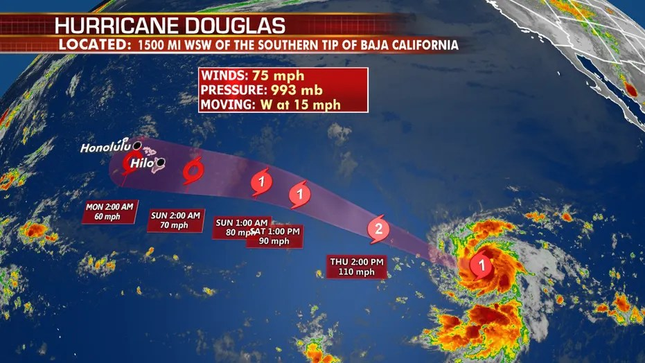 Hurricane Douglas becomes first of season in Eastern Pacific ...