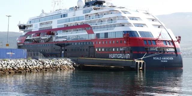 Norwegian cruise ship MS Roald Amundsen moored in Tromso, Norway on Aug. 3. (Terje Pedersen/NTB Scanpix via AP)