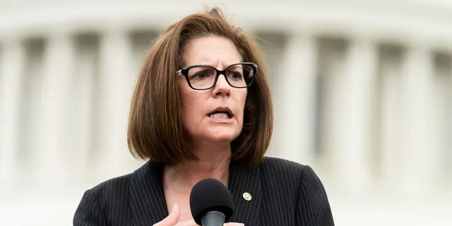 U.S. Senator Catherine Cortez Masto, D-Nev., speaks during the event in front of the Capitol to urge the passage of the H.R. 8 universal gun background checks legislation. (Michael Brochstein/SOPA Images/LightRocket via Getty Images, File)