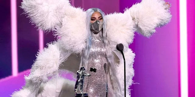 Lady Gaga accepts the artist of the year award onstage during the 2020 MTV Video Music Awards, broadcast on Sunday, August 30th 2020. (Photo by Kevin Winter/MTV VMAs 2020/Getty Images for MTV)