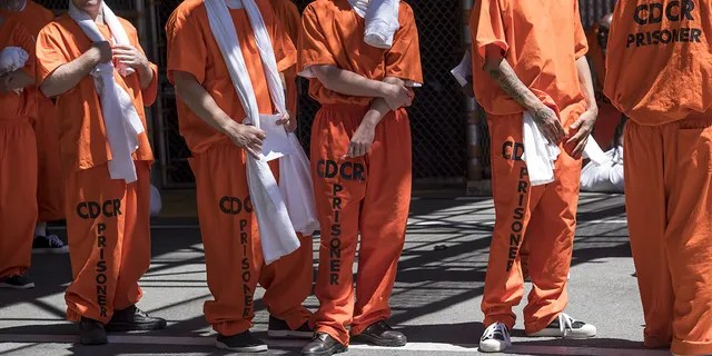 Inmates stand outside at San Quentin State Prison in San Quentin, California, U.S., on Tuesday, Aug. 16, 2016. (Getty Images)
