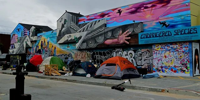 Homeless tents alongside the Venice beach boardwalk against colorful graffiti, in May 2019.