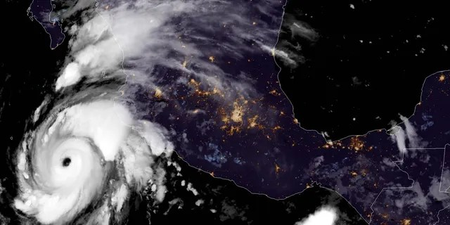 Hurricane Genevieve can be seen off the coast of Mexico on Aug. 18, 2020.