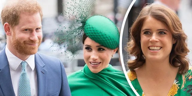 Prince Harry and Meghan Markle (right) are reported to have shared the news of Markle's pregnancy as the wedding of Princess Eugenie (left).